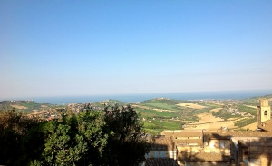 Skyline of Fermo with a view of the Adriatic Sea and the other sorrounding hills