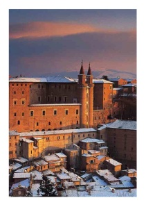 The old centre in Urbino after a snowfall Photo Credit: Adriano Gamberini