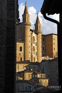 "The two small towers (ala ""torronicni"") of Palazzo Ducale in Urbino"