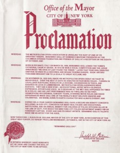 "Original proclamato of the ""Beniamino Gigli Day"" proclamed by the Mayor of NY Rudolph Giuliani on 8 October 1997"